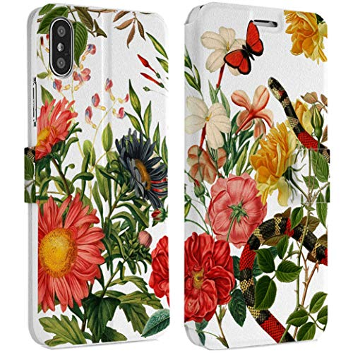 Wonder Wild Floral Blooming iPhone Wallet Case X/Xs Xs Max Xr Case 7/8 Plus 6/6s Plus Card Holder Accessories Smart Flip Hard Design Protection Cover Flowers Bouquet Still Life Reptile Fashion ()