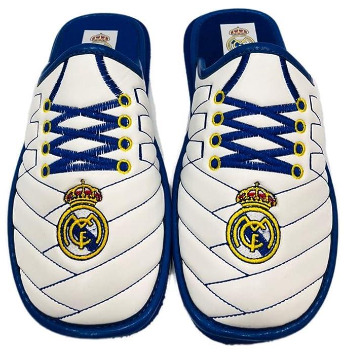 Real Madrid Zapatillas Andar en Casa Polipiel Bordado Cordones (40)