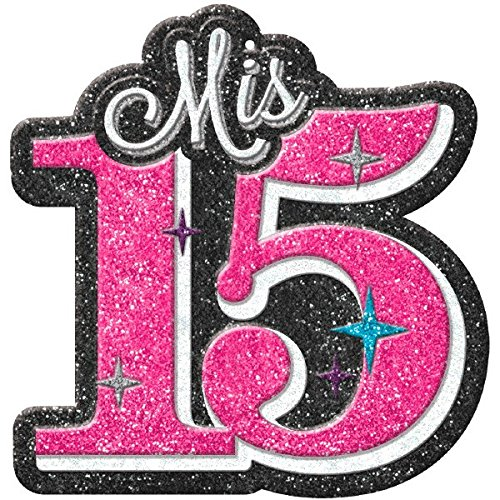 Amscan Elegant Mis Quince Años Glitter Cutout Birthday Party Decorations (1 Piece), Pink/Gray, 15'' x 14 3/4.