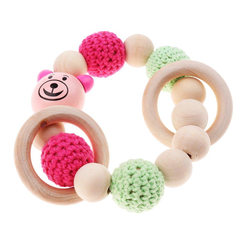MagiDeal Babypflege Schmuck Beißring aus Holz Ringe Häkeln Perlen Beißringe Baby Teether Spielzeug Säugling Greifling Armband - Stil 1
