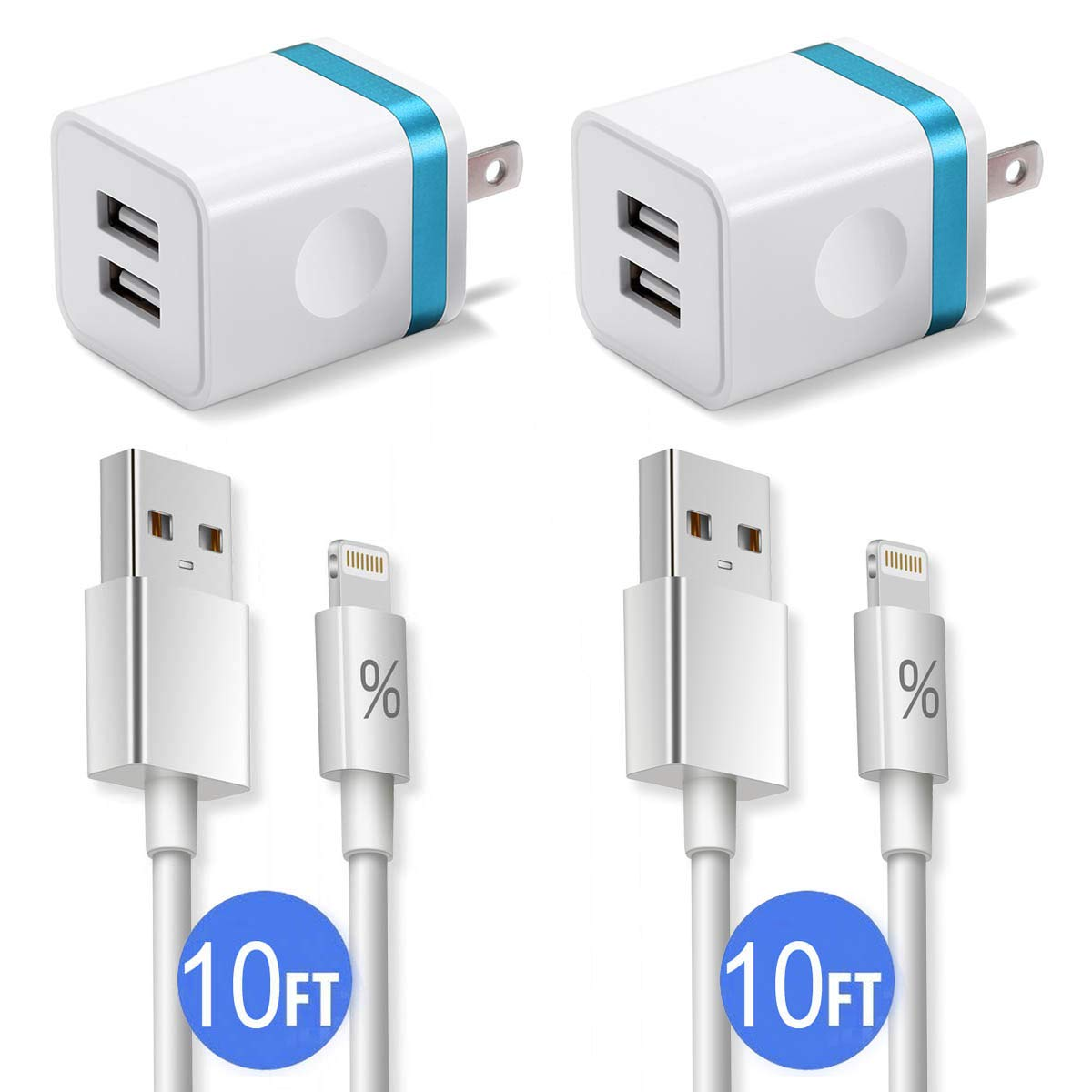 Phone Charger 10ft with Plug (4-in-1), FIMARR Dual USB Wall Charger Adapter Block with 2-Pack Charging Cable 10-Feet Compatible with Phone XS/Max/XR/X 8/7/6 Plus SE/5S/5C (UL Certified)