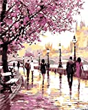 DIY Oil Painting Paint by Numbers Cherry Blossoms Park Drawing With Brushes Paint for Adults Kids Beginner Level 40x50cm - Frameless