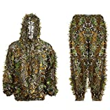 Ghillie Suit 3D Leafy Hooded Camouflage Clothing Outdoor Woodland Hunting Suit Sniper Costume Camo Outfit for Jungle Hunting, Military Game, Wildlife Photography, Halloween (Height 3.8-4.7 ft)