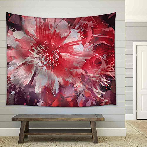 Beautiful Autumn Flowers Old Painting Style Fabric Wall