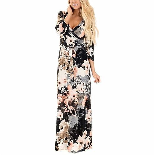 VADOLY Women Summer Floral Print Maxi Dress Boho Style Long Beach Dress Evening Party Long Bandage