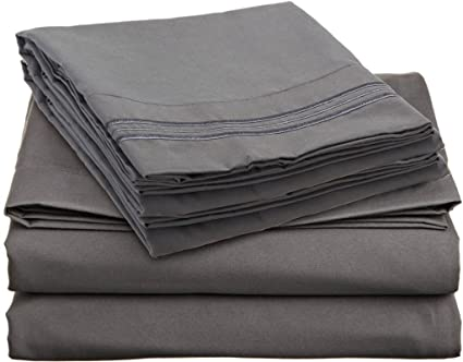 ANILI MILI 1800 Collection Affordable 4 Pc Bed Sheet Set   Queen Size, Gray