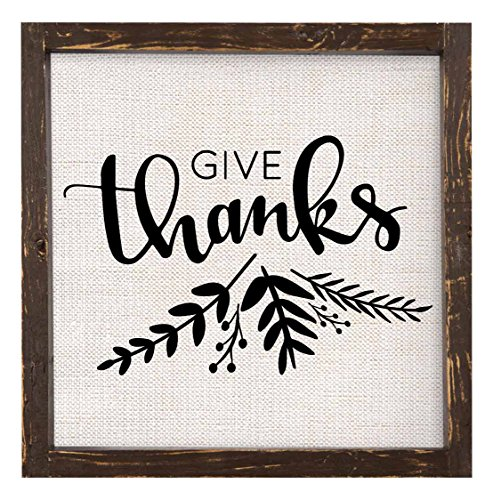 Brownlow Gifts Give Thanks Framed Linen Sign -