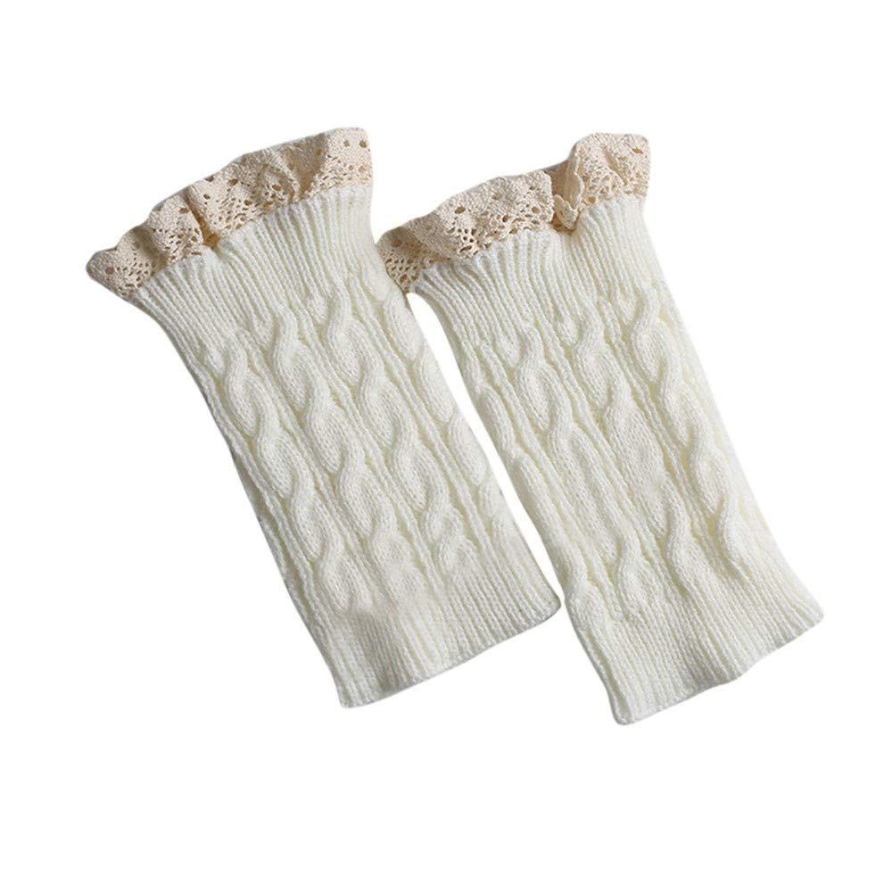 POHOK Socks Leggings for Women,Girl Lace Crochet Knit Trim Boot Cuffs Toppers Leg Warmer Socks Wine