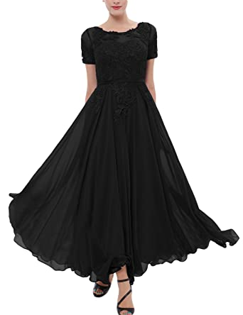 25ea88e8c04 LMBRIDAL Women s Chiffon Tea Length Mother of The Bride Dress with Sleeves  Black 2