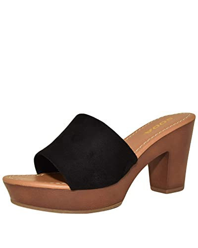 228c74898cc85 Sidecca Soda Sunkist Faux Suede Wooden Slip On Mule Clog Heel (5.5, Black)