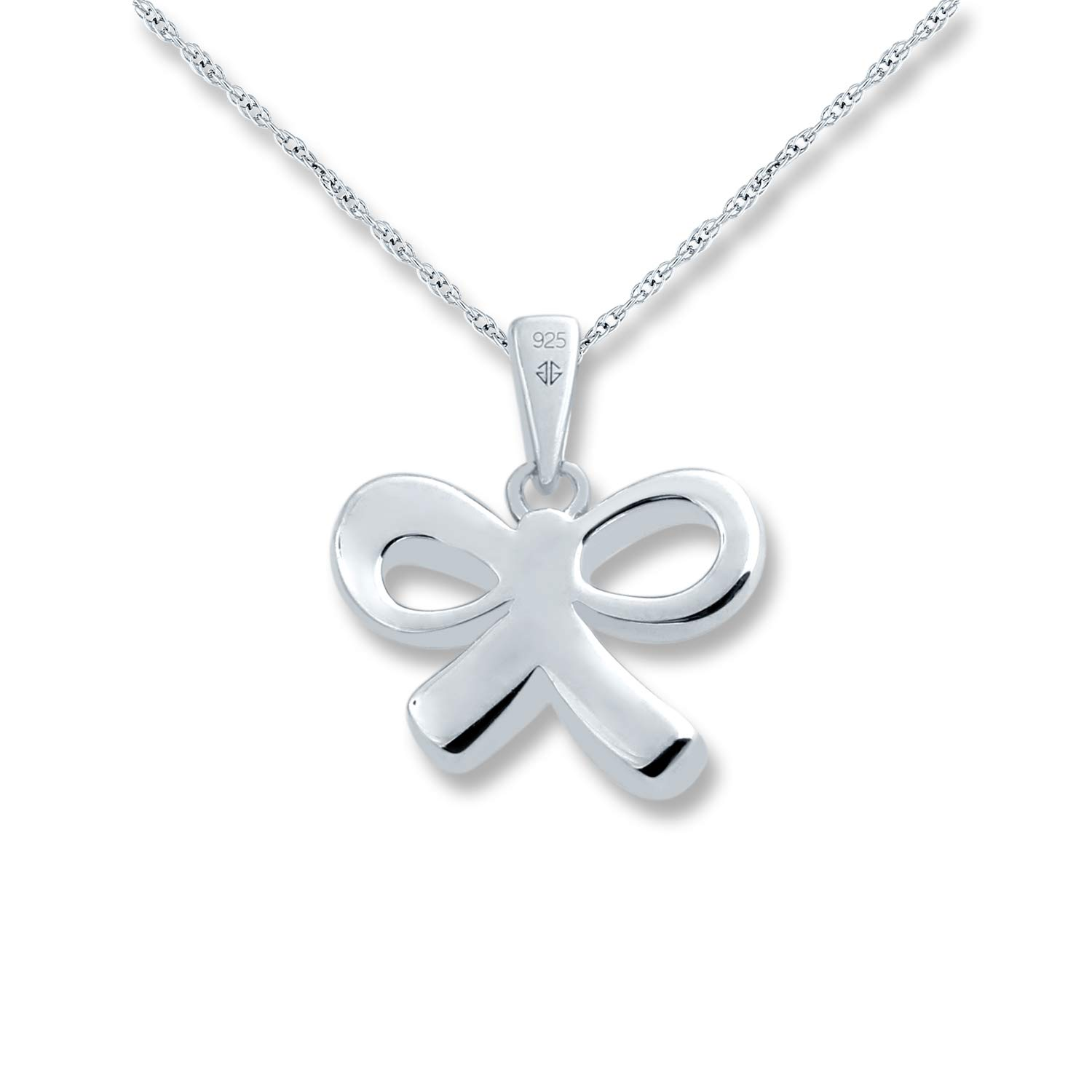 TJC Jewelry 1//20 Cttw Ribbon Bow Diamond Pendant in Sterling Silver