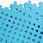EYEPOWER-Tappetino-Forato-Ideale-per-Bordo-Piscina-Doccia-1cm-di-Spessore-Morbido-Tappeto-bucherellato-159qm-Estensibile-ad-Incastro-Puzzle-Blu