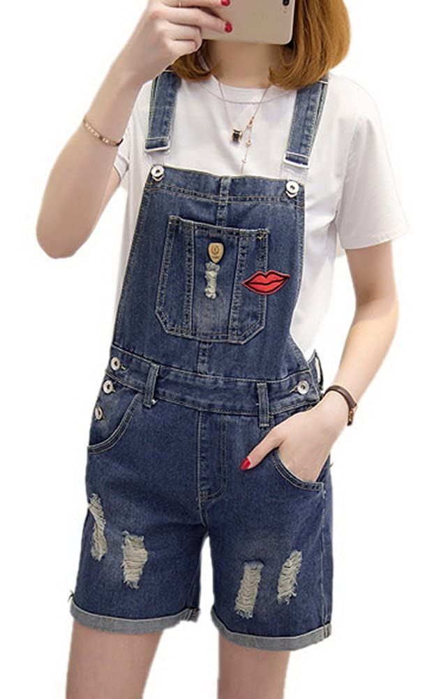 Luodemiss Womens Cute Sweety Denim Short Jumpsuit Jeans Cowboy Distressed Rolled Up Shortall 0610-02-07