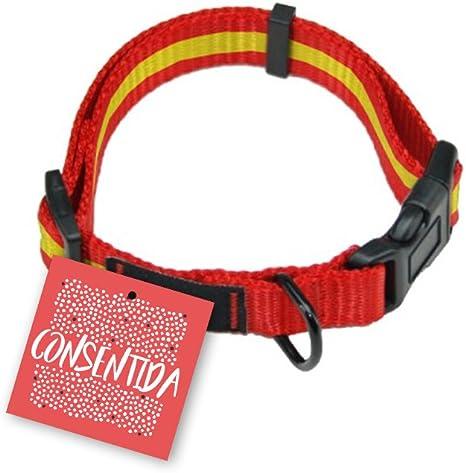 Consentida CN205536 Collar España T-1, 20-35 x 1 cm, S, Rojo y Amarillo: Amazon.es: Productos para mascotas