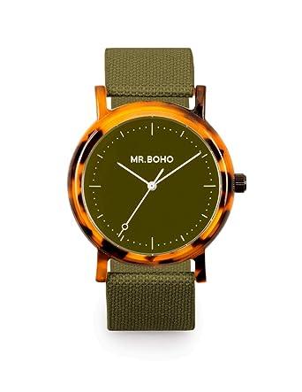Reloj Mr.BOHO Mujer 36mm en Color Verde Correa Poliester. 00728660: Amazon.es: Relojes
