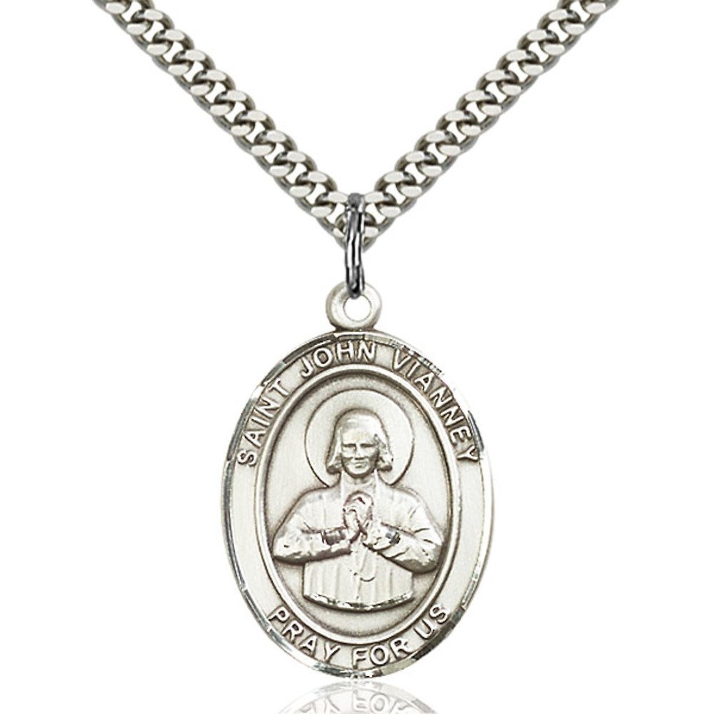 John Vianney Hand-Crafted Oval Medal Pendant in Sterling Silver Bonyak Jewelry St