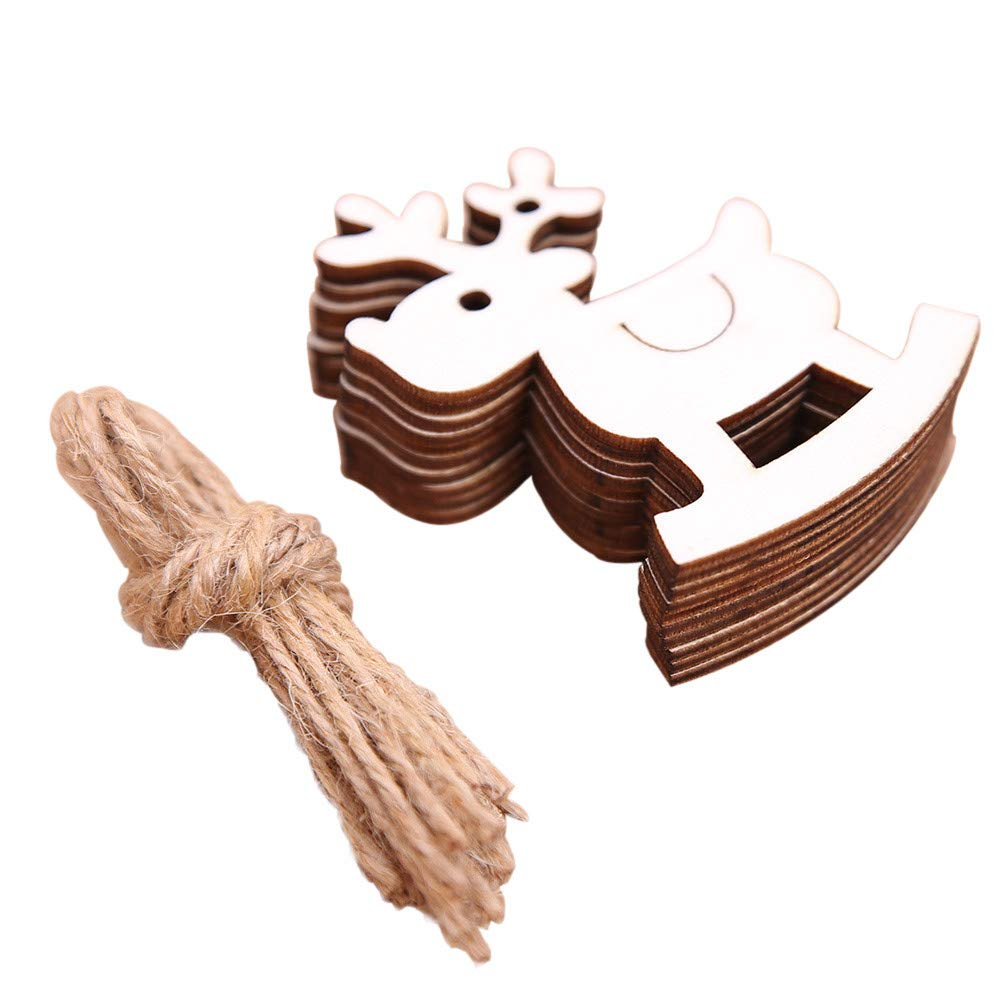 Pgojuni DIY Wooden Pendant Ornaments for Christmas Tree and Party Decorations 10Pcs (B)