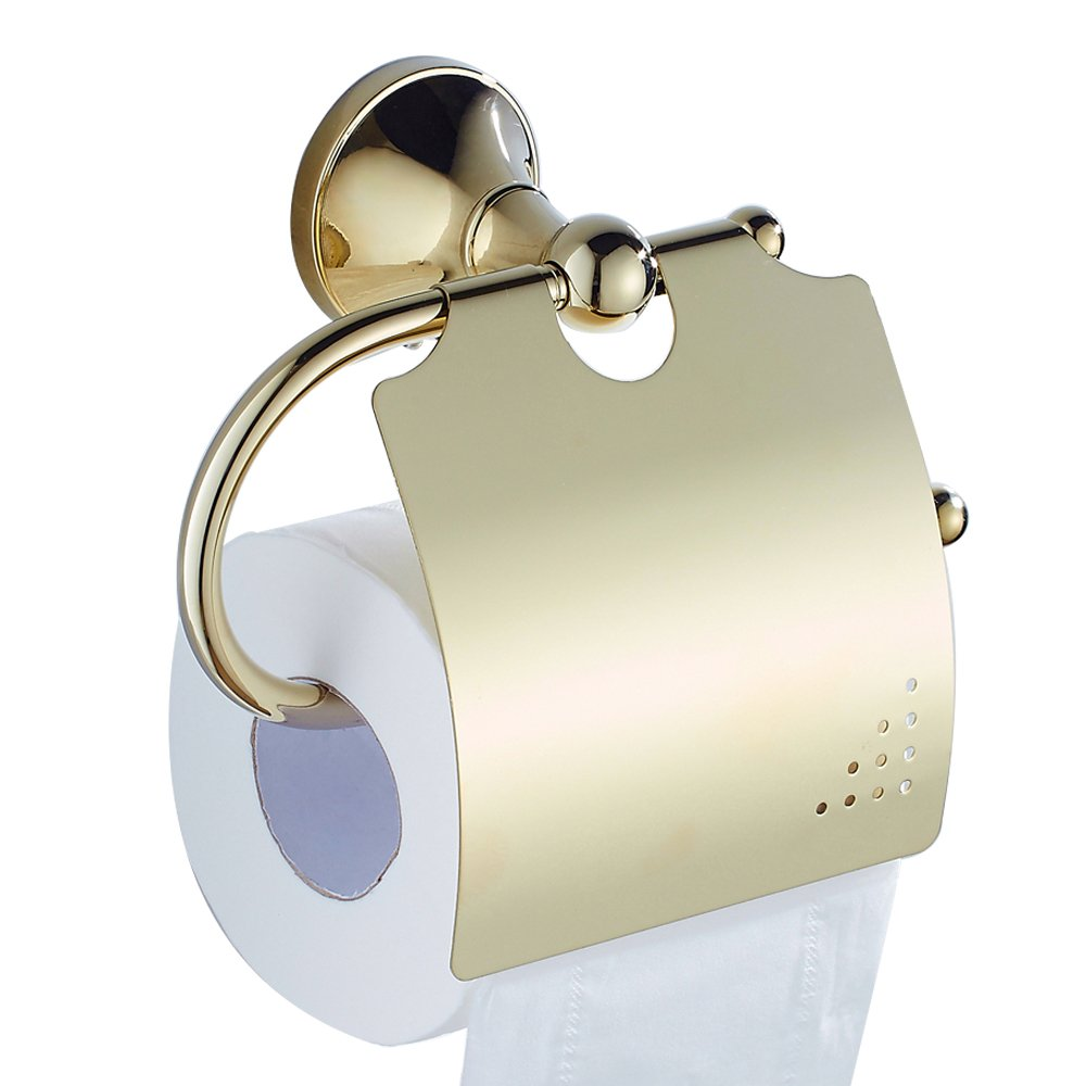 Bathfirst Toilet Paper Holder Hanger Dust-proof Waterproof Paper Tissue Holder Luxury for Toilet Bathroom and Kitchen Polished finish(Gold)
