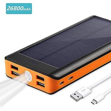 BONAI Bateria Externa Solar 26800mAh, Cargador Móvil Portáti Power Bank Entrada 4.2A y Salida 5.8A Paquete de batería LED Linterna Incorporado, ...