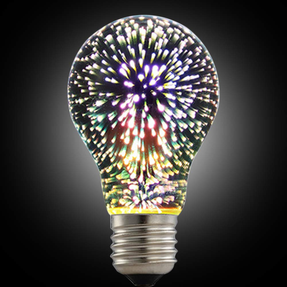 LED Fireworks Bulb, 3D Led Bulb Star E27 Vintage Edison Night Light Colorful Bombillas Retro Glass Lampara Vial Christmas Home Decor RGB(60mm108 mm,white)