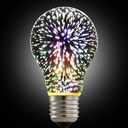LED Fireworks Bulb, 3D Led Bulb Star E27 Vintage Edison Night Light ...