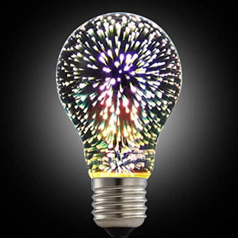 LED Fireworks Bulb, 3D Led Bulb Star E27 Vintage Edison Night Light Colorful Bombillas Retro