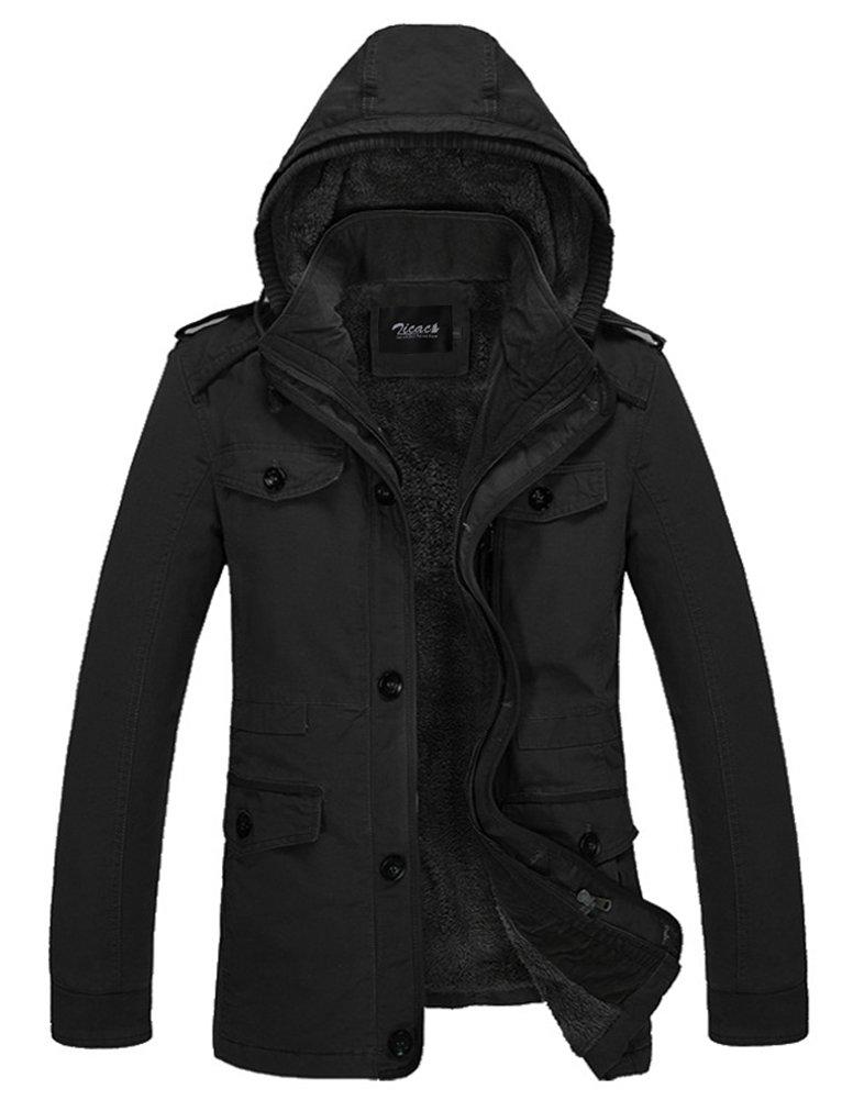 Zicac Men's Thicken Fleece Cotton Coat MD-Long Hooded Jacket Outwear Overcoat (XXL,Black)