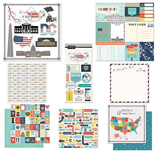 Scrapbook Customs Themed Paper & Stickers Scrapbook Kit, Washington D.C. City - Map Potomac Mall