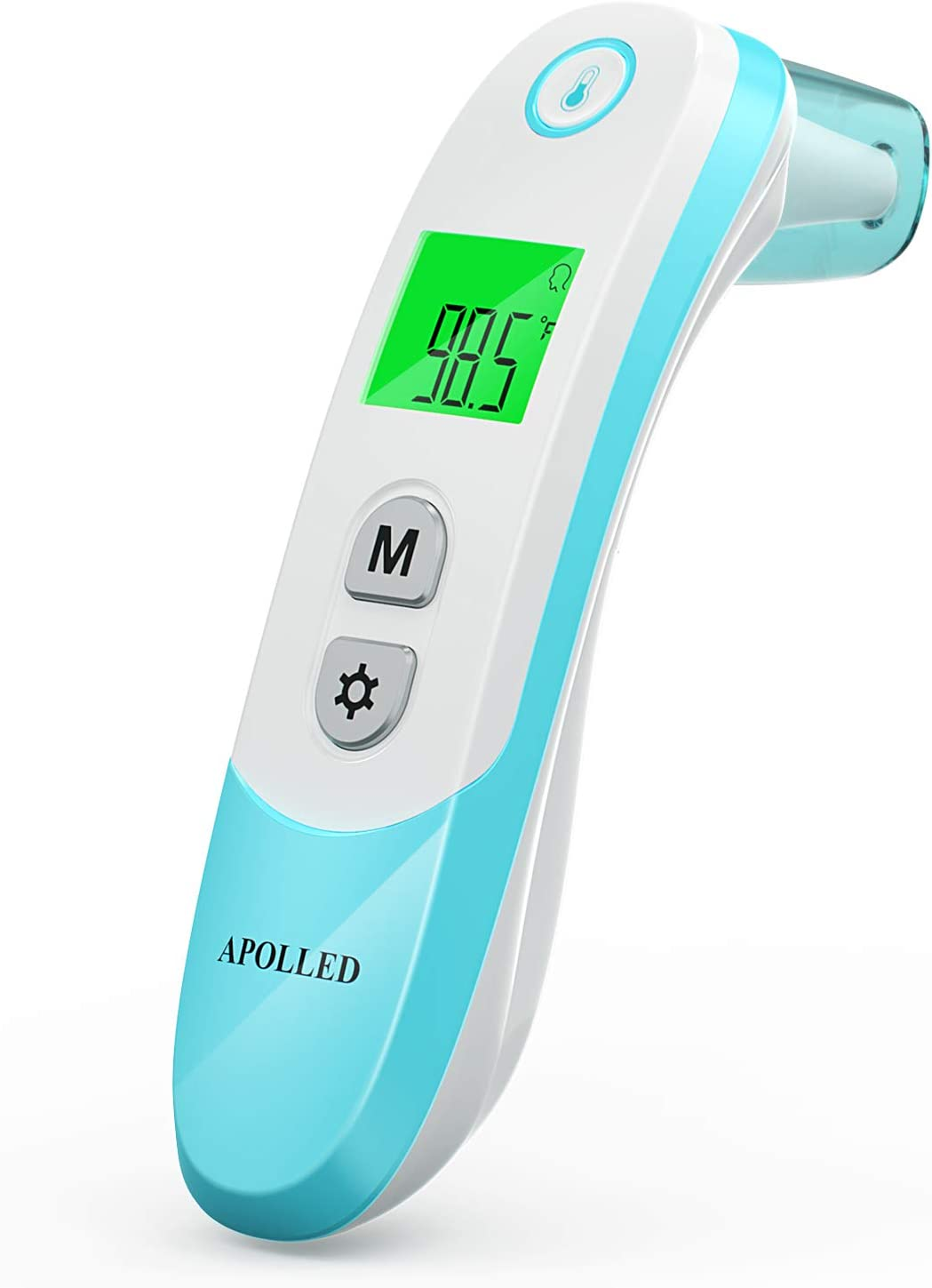 Baby Thermometer, Apolled Infrared Forehead and Ear Thermometer with Fever Alarm, Suitable for Baby and Adults