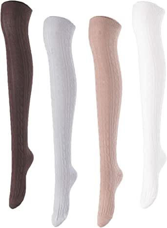 Lovely Annie Women's 4 Pairs Over Knee High Thigh High Cotton Socks JMYP1024 Size 6-9