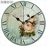 vintage buggy - Buggy Round Decorative Wall Clock-Shabby Chic Floral Patchwork Clock - Vintage Wall Clocks for Living Room, Bedroom and Kitchen - Multi-Coloured Cute Retro Style Clock Wall ,12 inches 30CM