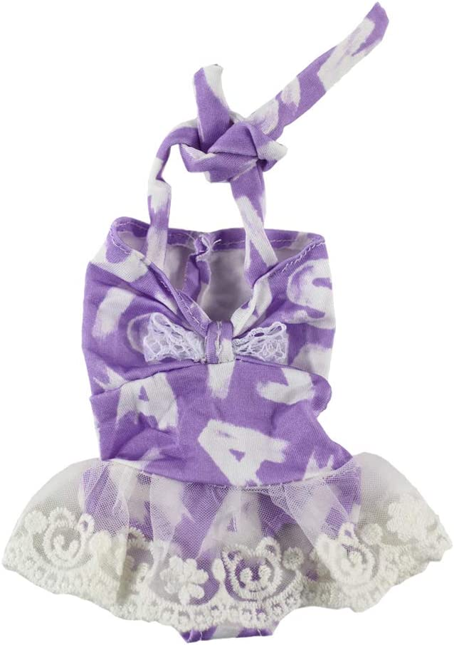 14inch Fashion Girl Doll Summer Outfits Floral Swimsuit Swimwear Bikini Jumpsuit Party Clothes for Wellie Wishers Doll Purple