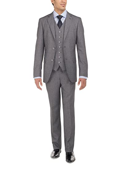 Men's Vintage Style Suits, Classic Suits LN LUCIANO NATAZZI Mens Two Button Tweed 3 Piece Modern Fit Vested Suit $219.95 AT vintagedancer.com