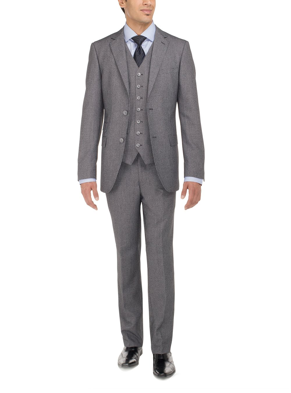Luciano Natazzi Men's Two Button Tweed 3 Piece Modern Fit Vested Suit (40 Regular US / 50 Regular EU, Gray) by Luciano Natazzi