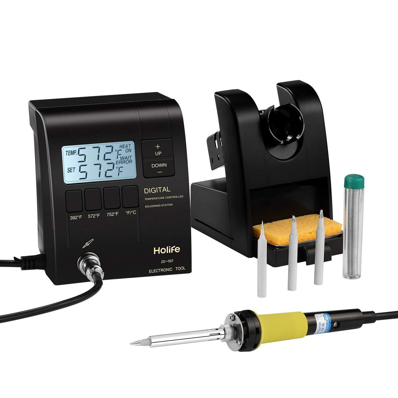 HoLife Digital Display Soldering Iron Station with ON/OFF Switch, Adjustable Temperature from 302