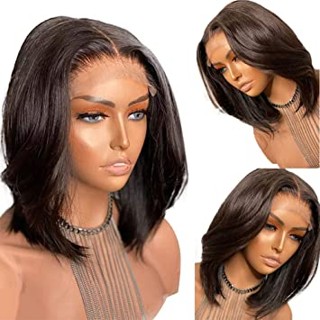 Amazon Com Full Lace Wigs Bob Glueless Short Silky Straight Brazilian Human Hair Lace Front Wigs With Baby Hair For Women Middle Part 12 Inch With 130 Density Natural Color Full Lace