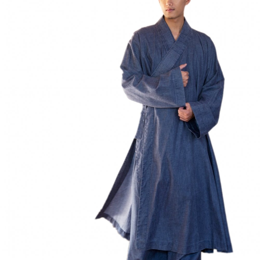 Katuo Blue Men's Long Gown Traditional Buddhist Meditation Robe S-2xl (XL)