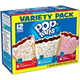 Kellogg's Pop-Tarts Frosted Toaster Pastries Variety Pack, Frosted Cherry, Blueberry and Strawberry, 12 Count