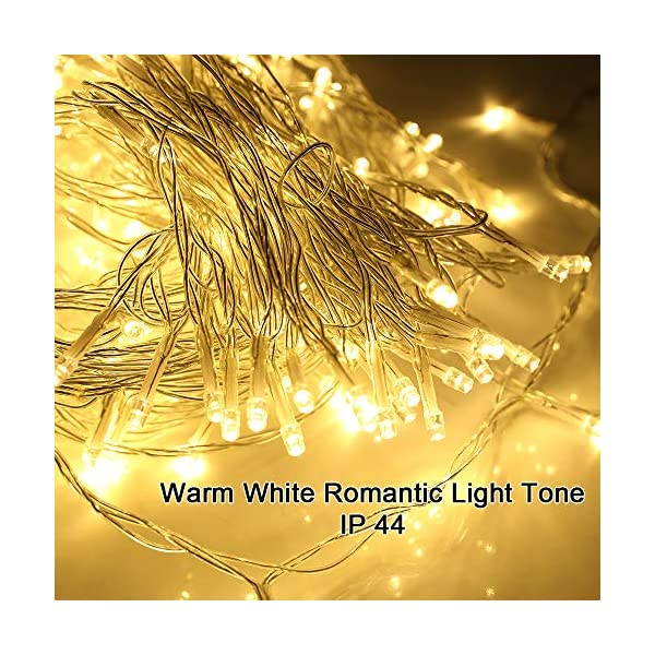 SYCEES Nastro Catena Luci 200 LED 23M Bianco Caldo da Interno 8 Effetti di Lampeggio/Funzione di Memoria/ IP44 / Luce Feste Natale Matrimonio Giardino Patio Mostra Vetrina (bianco caldo 200 led) 6 spesavip