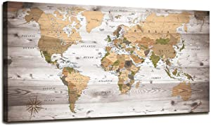 World Map Wall Art for Office Vintage Wood Grain World Map Poster Canvas Prints with Your Photos Nautical Decor Modern Framed Art Map of The World Wall Art for Living Room Travel Memory Home Decor