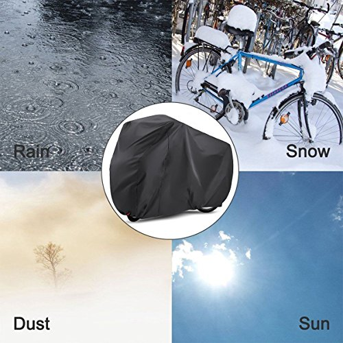 EUGO Bike Cover for 2 Bikes Outdoor Waterproof Bicycle Covers 210D Oxford Fabric Rain Sun UV Dust Wind Proof for Mountain Road Electric Bike by EUGO (Image #2)