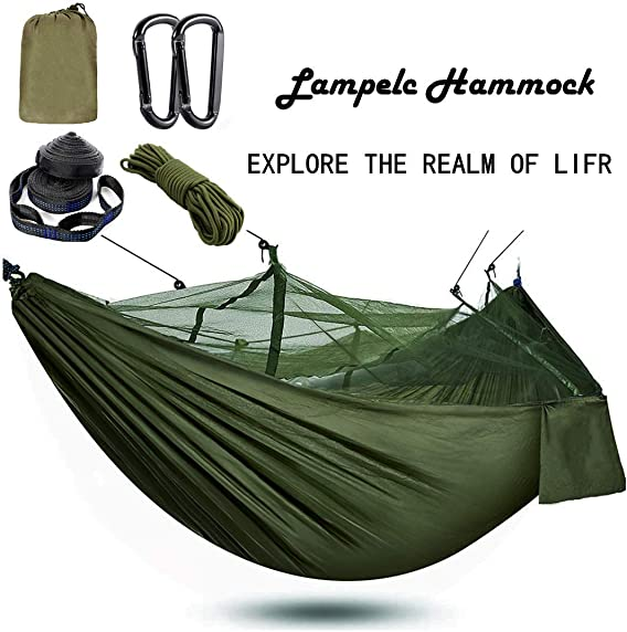 Camping Survival Tree Net Hammock,Lightweight Double Hammock Windproof Nylon Parachute Ultralight Hammocks with Tree Straps and Hangers for Backpacking Hiking Travel Backyard Beach