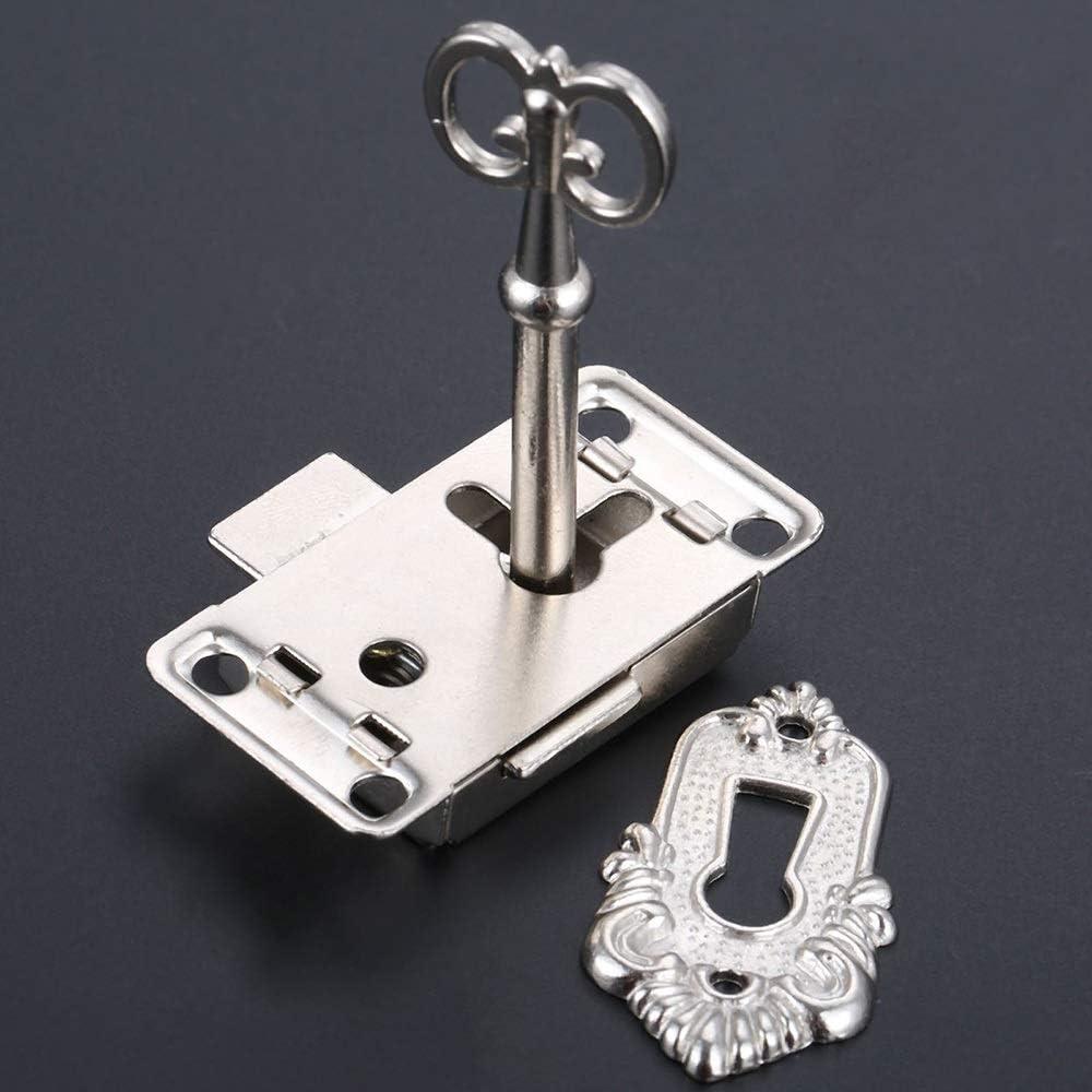 Key Lock-Werkzeug-Set AIGUO Antique Eisen T/ürschloss Schubladenschrank Schmuck Schrank Kabinett T/ürschloss 1 Set Color : Black Mit Key Lock