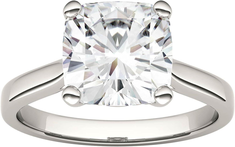 Charles & Colvard Forever One anillo de compromiso - Oro blanco 14K - Moissanita de 9 mm de talla cojín, 3.3 ct. DEW