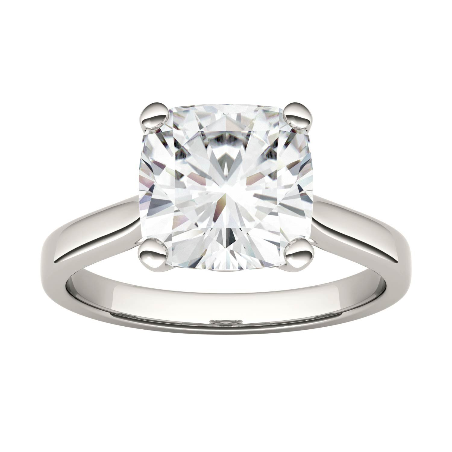 Forever One Cushion 9.0mm Moissanite Engagement Ring-size 7, 3.30ct DEW (D-E-F) by Charles & Colvard