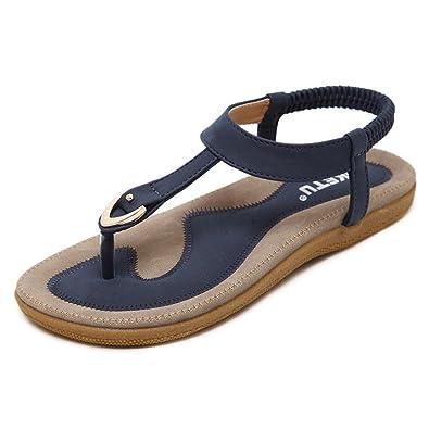 4a0d45524bfa HARRYSTORE Womens T-Strap Sandals Flat Bohemia Style Roman Clip Toe Flip  Flop Casual Summer
