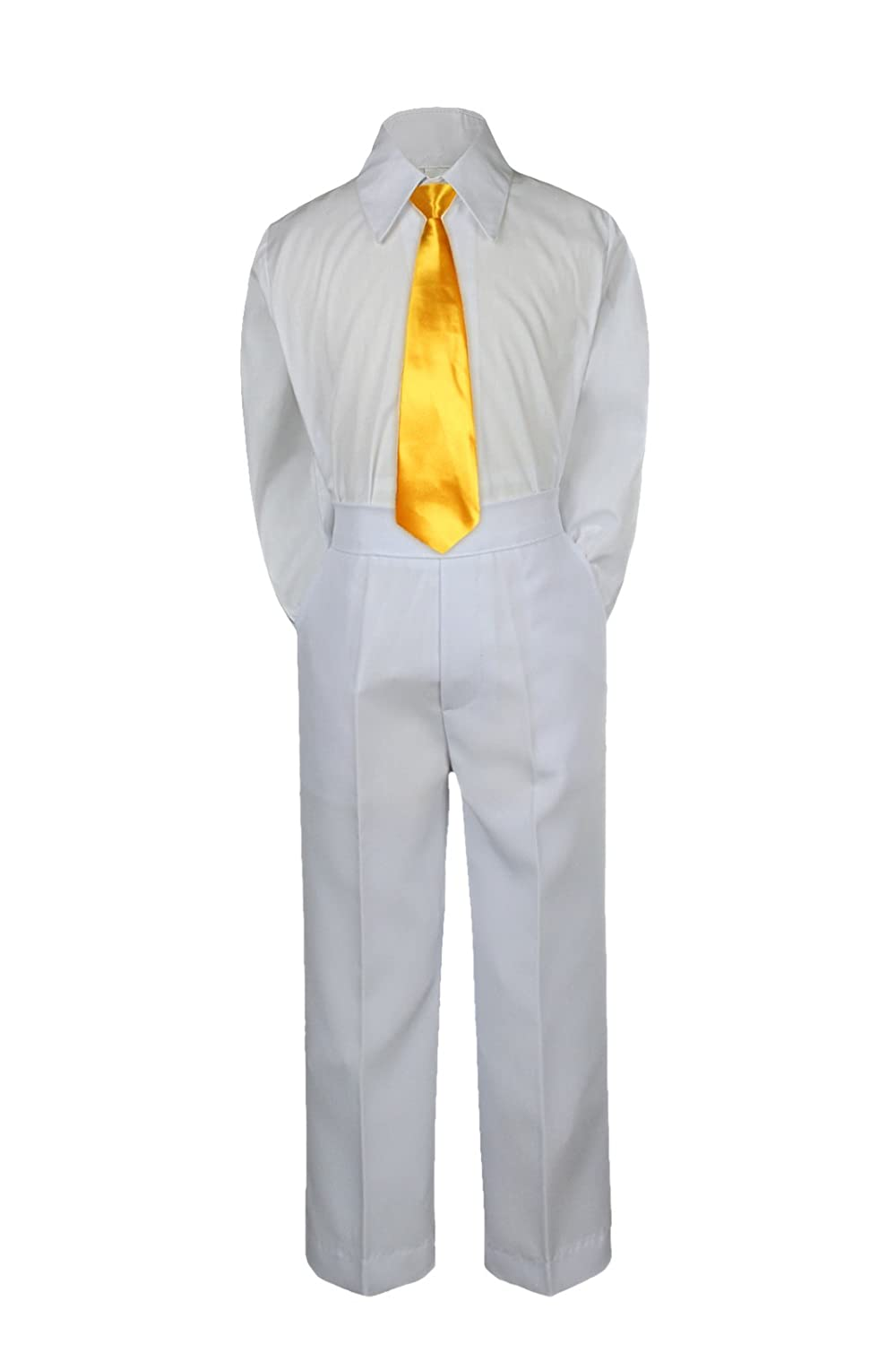 M: 6-12 months Leadertux 3pc Formal Baby Toddler Boys Satin Yellow Necktie White Pants Suit S-7