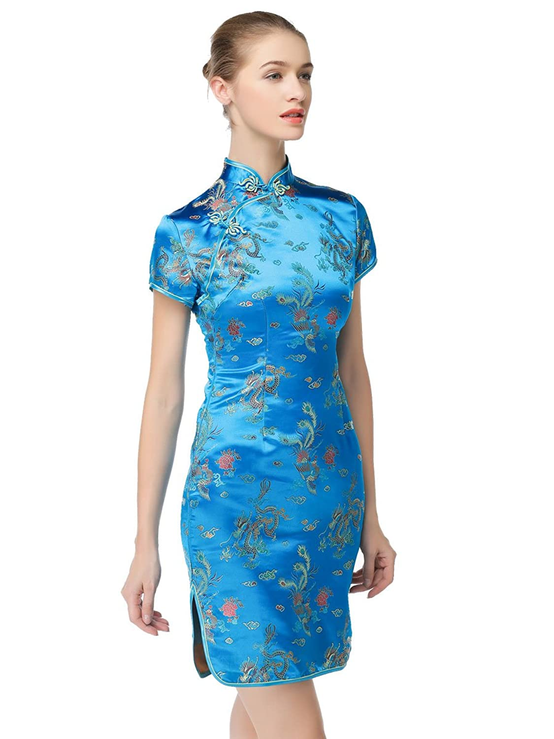 Amazon.com: Bitablue Womens Peacock Blue Chinese Dragon and Phoenix ...