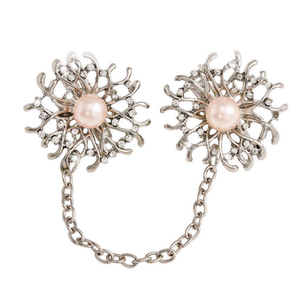 OULII Broches de Perlas Elegante Material de Aleación Decoraciones de Ropas para Mujeres Niñas (Girasol) H1843B5232IBL