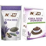N2H Chia Seeds (200gm x 1 Pack) Protein and Fibre Rich Super Food & N2H Chia Seed Powder (100gm x 1 Pack)